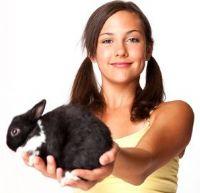 לימודים טיפול בעזרת בעלי חיים - בחורה עם ארנבון