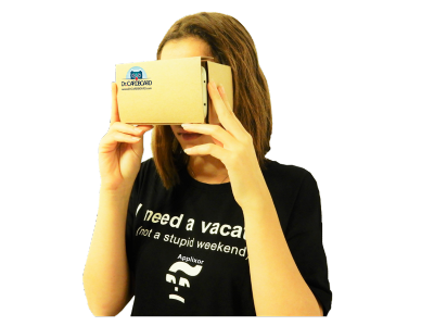 PNG-woman uses virtual reality VR cardboard