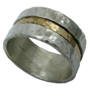 טבעת לגבר, טבעת כסף לגבר, מתנה לגבר, כסף טהור וזהב